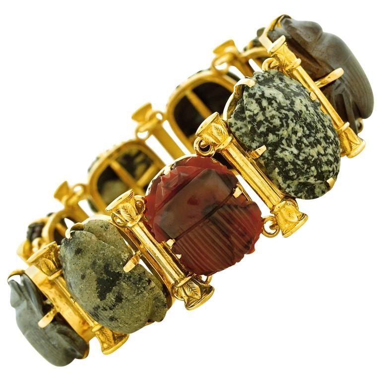 Victorian Aesthetic Gold Bracelet in the Egyptian Taste at 1stdibs