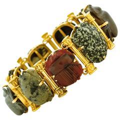 Victorian Aesthetic Gold Bracelet in the Egyptian Taste
