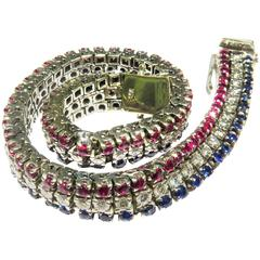 Triple Row Victory Bracelet Red White & Blue (Sapphire Ruby Diamond)
