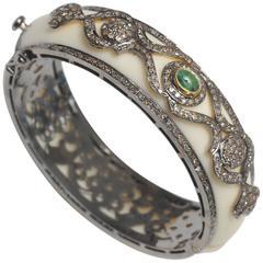 White Bakelite Emerald Diamond Sterling Silver Cuff Bracelet