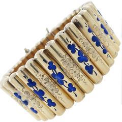Enchanting Antique Victorian Enamel Gold Bracelet
