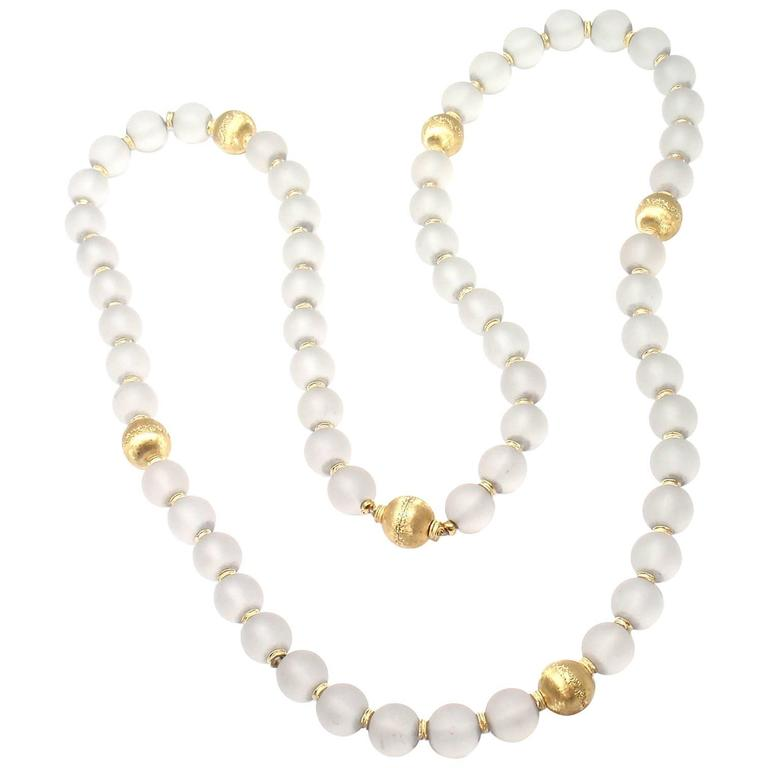 Buccellati Rock Crystal Gold Bead 30 Inch Long Necklace