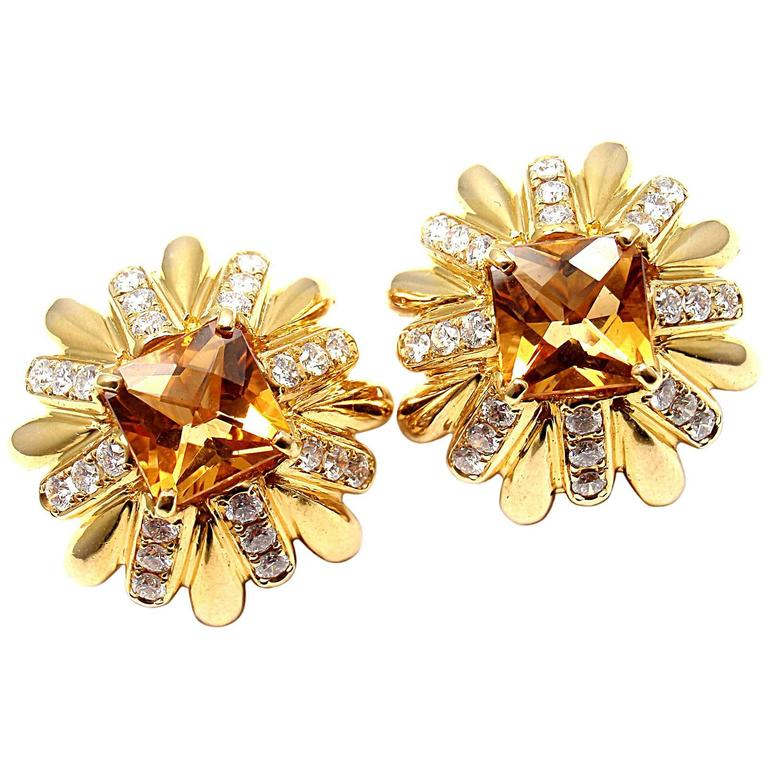 Cartier Aldo Cipullo Citrine Diamond Gold Earrings 1