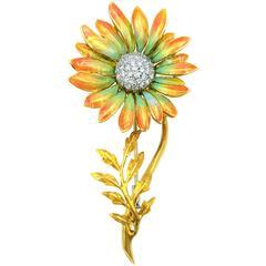 John Apel Regal Collection Enamel  Diamond Gold Sunflower Brooch