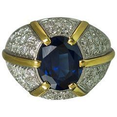 Blue Sapphire Gold Platinum Dome Ring