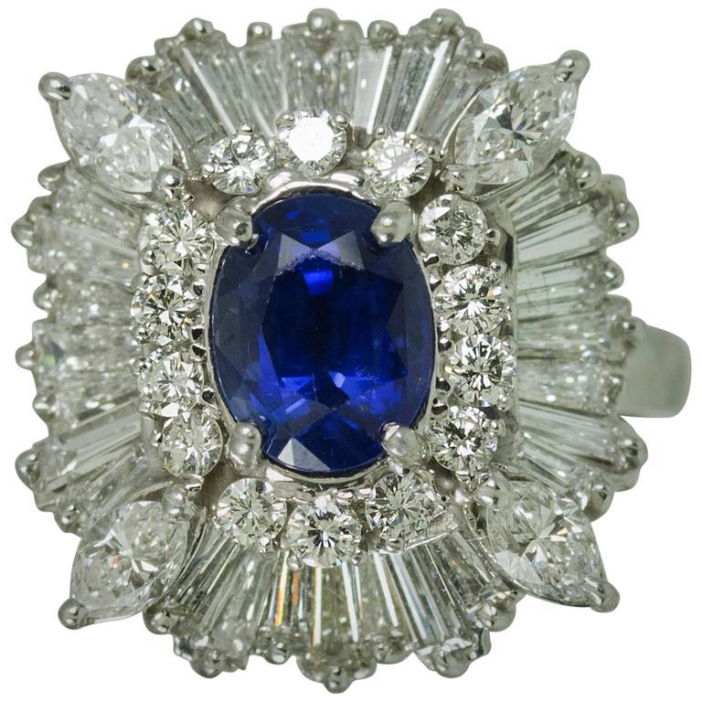Royal Blue Ceylon Sapphire Diamond Platinum Ring