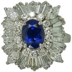 Royal Blue Ceylon Sapphire Diamond Platinum Ring