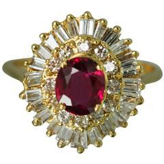 Ruby Diamond Gold Ballerina Ring