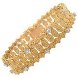Van Cleef & Arpels Textured Gold and Diamond Bracelet