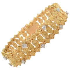 Van Cleef & Arpels Textured Gold and Diamond Bracelet
