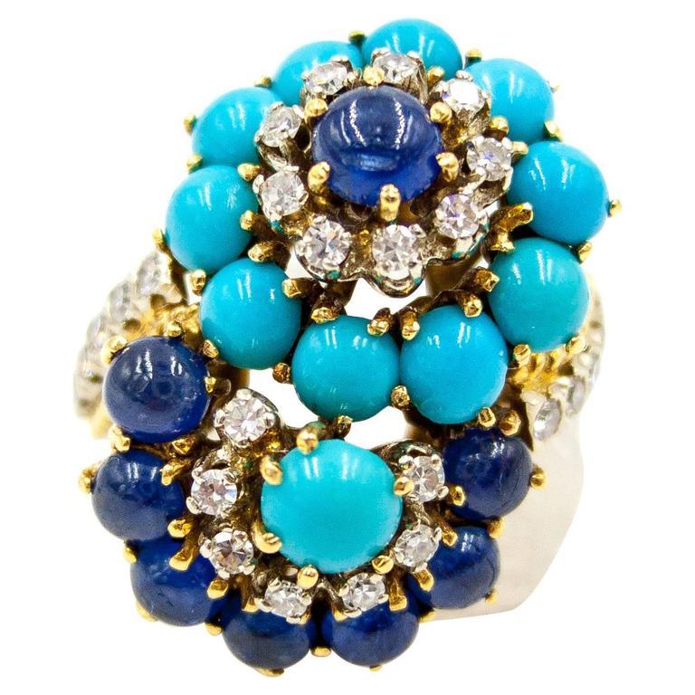 1950s Turquoise Sapphire Diamond Gold Double Twist Ring