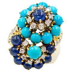 1950s Turquoise Sapphire Diamond Gold Double Twist Ring