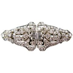 Trabert & Hoeffer Mauboussin  Art Deco Diamond Platinum Clip Set