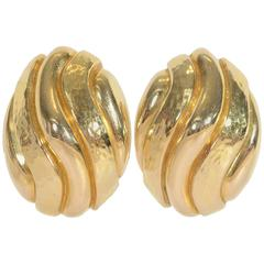 David Webb Large Hammered and Gloss Gold Earclips