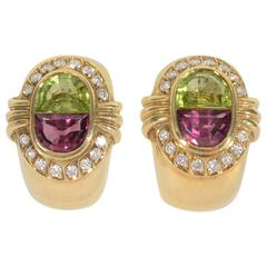 H. Stern Tourmaline Peridot Gold Earrings