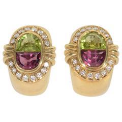 H. Stern Tourmaline Peridot Gold Earrings