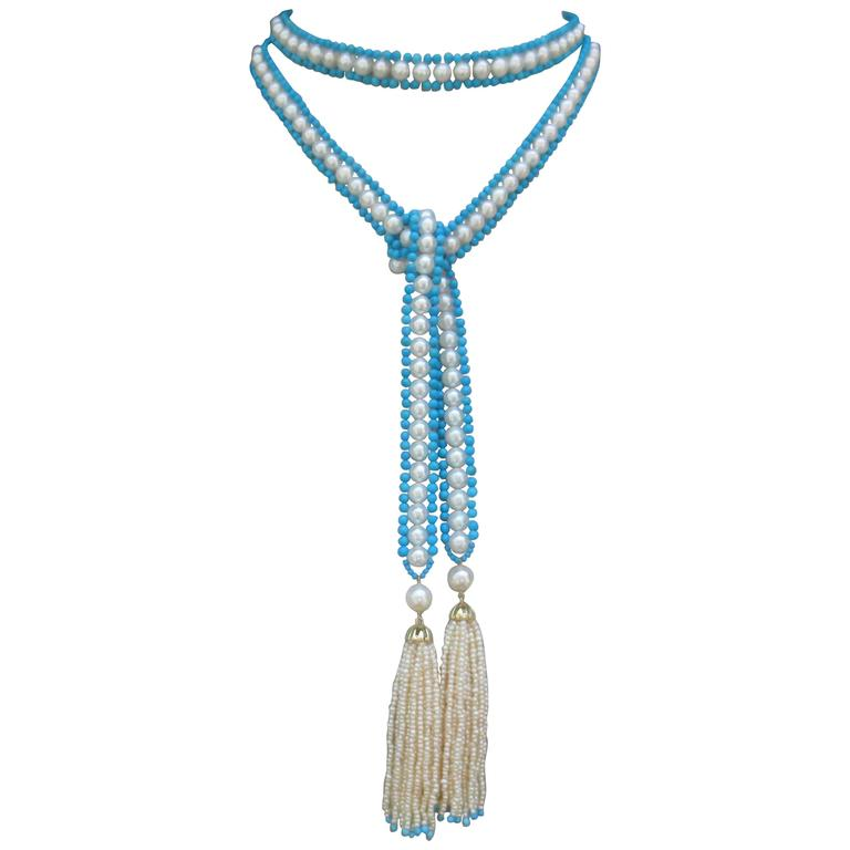 Versatile Woven Pearl Turquoise Bead Long Sautoir with Pearl Tassels and Gold