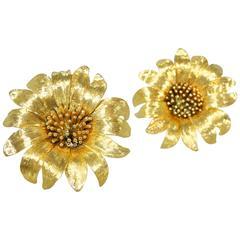Gold Sunflower Earrings