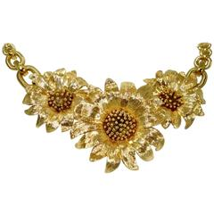 Contemporary Gold Sunflower Necklace