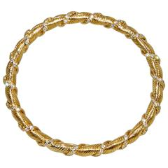 Van Cleef & Arpels Diamond Gold Bangle Bracelet