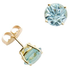 "18 Karat Aquamarine ""Medicine Wheel"" Carved Stud Earrings"