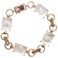 Sapphire Quartz Mother of Pearl Gold Goddesses Bracelet
