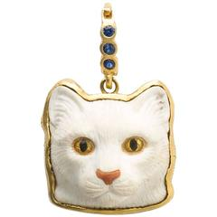 Cat Head Carved Pendant