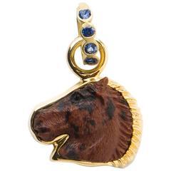 Mahogany Obsidian Gold Horse Head Pendant