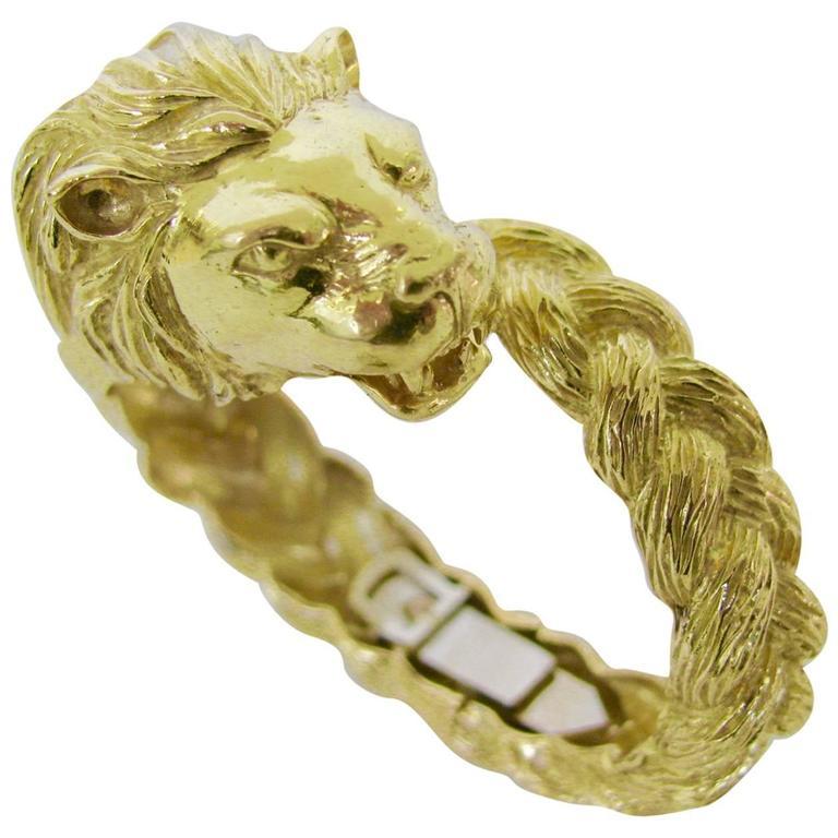 Gold Lion Head Zodiac Bangle Bracelet, circa 1970