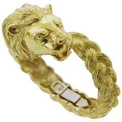 Gold Lion Head Zodiac Bangle Bracelet, circa 1970
