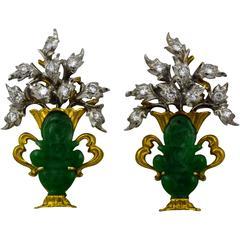 Buccellati Jade Diamond Gold Earrings