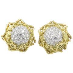 1990s Tiffany & Co. Schlumberger Diamond Gold Earrings