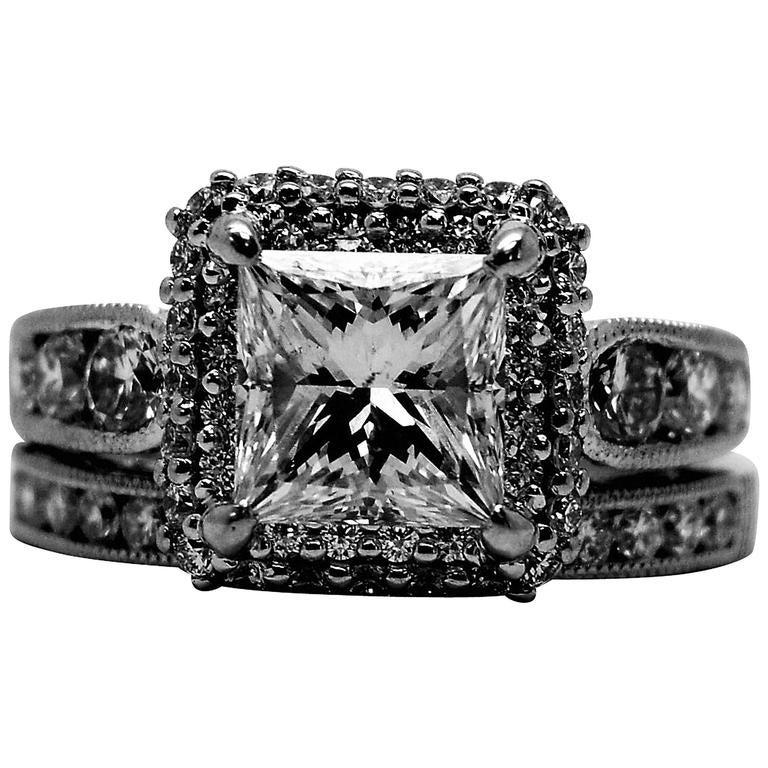 Tacori Princess Cut Diamond Gold Engagement Ring And