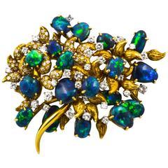 Julius Cohen Black Opal Diamond Gold Brooch