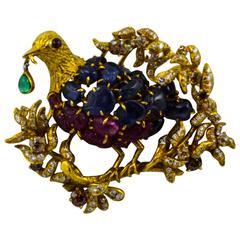 Julius Cohen Sapphire Ruby Emerald Diamond Gold Bird Brooch