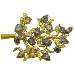 Julius Cohen Natural Fancy Cognac Diamond Gold Tree Brooch