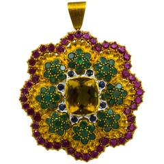 Buccellati Multi-Color Gemset Pendant Brooch