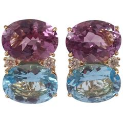 Grande GUM DROP™ earrings With Amethyst and Blue Topaz and Diamonds