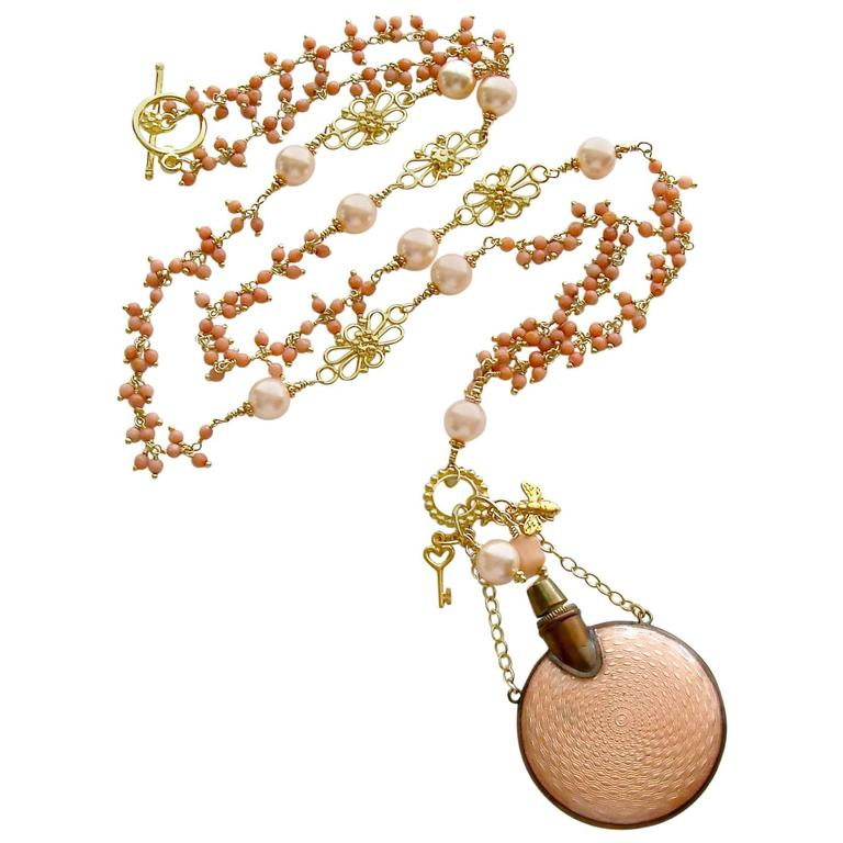 Guilloche Coral Cluster Chatelaine Scent Bottle Necklace