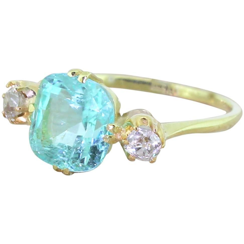 2 90 Carat Paraiba Tourmaline Old Cut Diamond Gold Trilogy