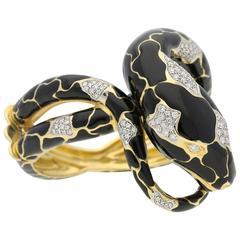 1980s Legnazzi Striking Enamel Diamond Gold Snake Bracelet