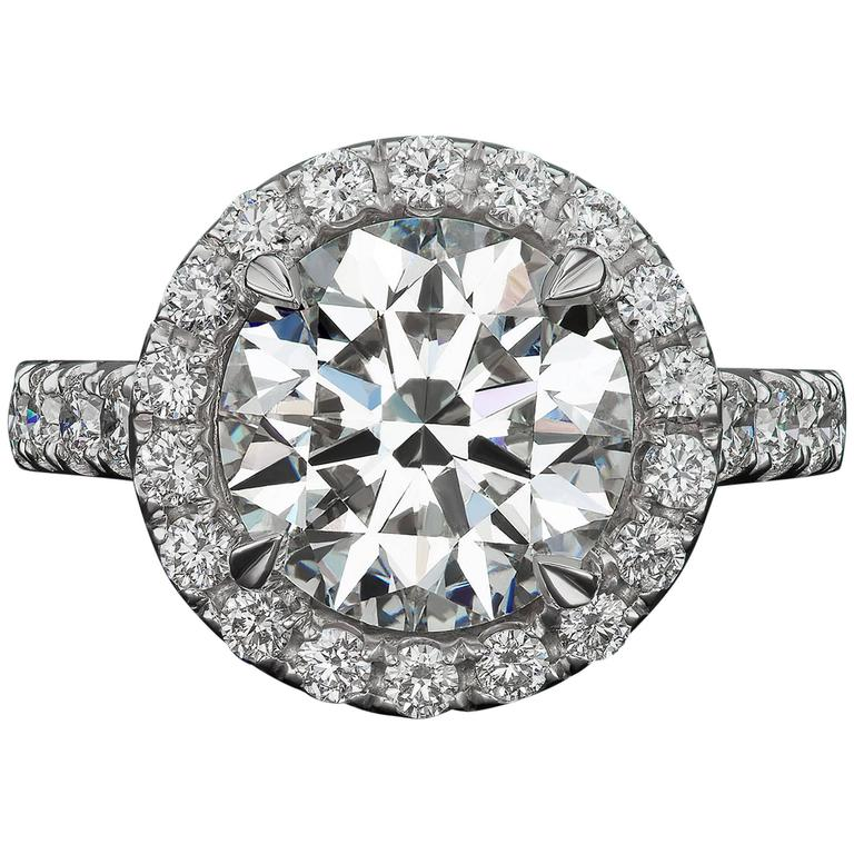 4 Carat GIA Certified Round Diamond Gold Engagement Ring For Sale
