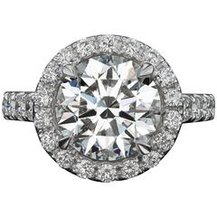 4 Carat GIA Certified Round Diamond Gold Engagement Ring