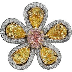 5-Petal Fancy Yellow and Pink Sunflower Diamond Ring