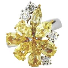 Fancy Intense Yellow and White Diamond Two Color Gold Modern Cluster Ring