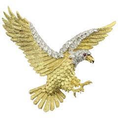 Herbert Rosenthal American Bald Eagle Diamond Gold Platinum Brooch Pin