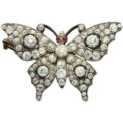 1880s Victorian Diamond Silver Gold Butterfly Brooch