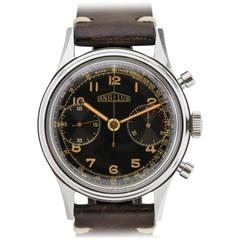Angelus Stainless Steel Gilt Dial Chronograph Wristwatch