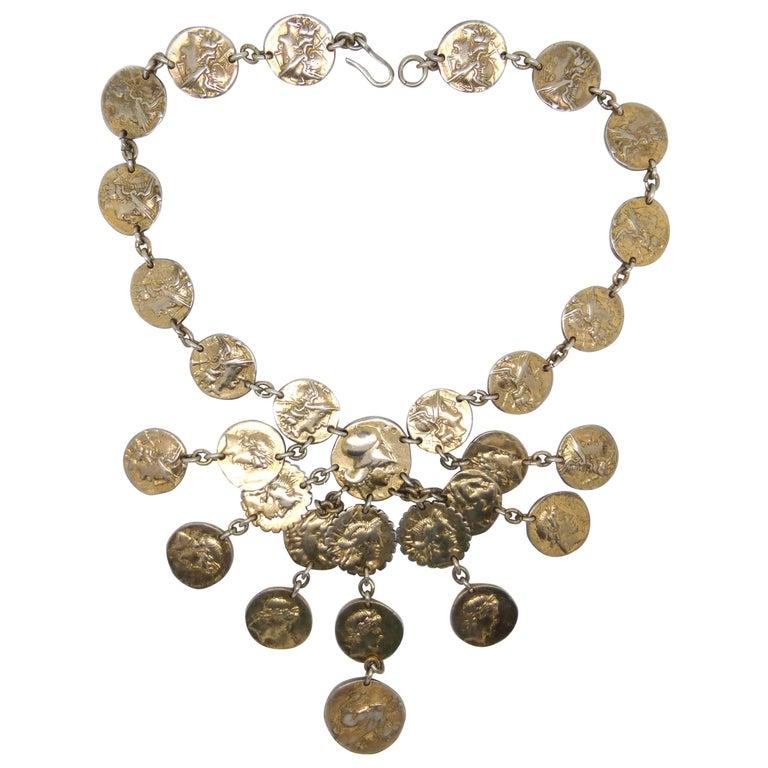 "Nettie Rosenstein Sterling Silver Gilt Classical Greek ""Drachma"" Necklace"