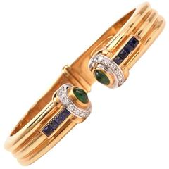 1980s Valente Emerald Sapphire Diamond Gold Cuff Bracelet
